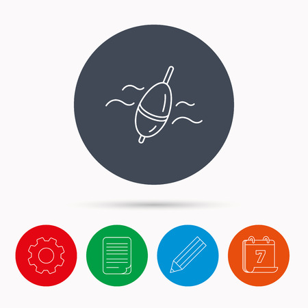 bobber: Fishing float icon. Bobber in waves sign. Angling symbol. Calendar, cogwheel, document file and pencil icons.