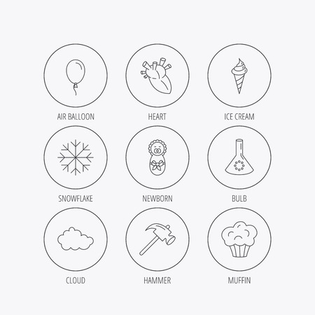 edge of the ice: Newborn, heart and lab bulb icons. Ice cream, muffin and air balloon linear signs. Cloud and snowflake flat line icons. Linear colored in circle edge icons.