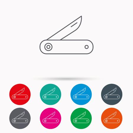 temperino: Multitool icona di coltello. Multifunzione segno strumento. Escursionismo simbolo attrezzature. Icone lineari nei circoli su sfondo bianco.