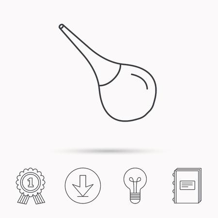 einlauf: Medical clyster icon. Enema sign. Download arrow, lamp, learn book and award medal icons.