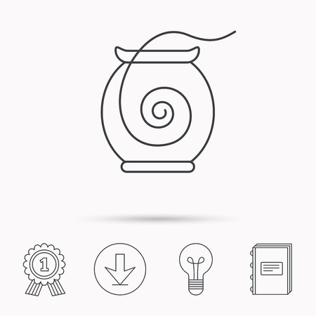 Dental floss icon. Teeth cleaning sign. Oral hygiene symbol. Download arrow, lamp, learn book and award medal icons.