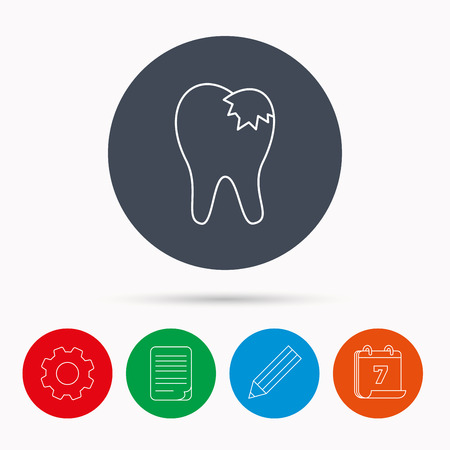 restoration: Dental fillings icon. Tooth restoration sign. Calendar, cogwheel, document file and pencil icons.