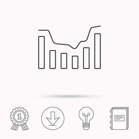 infochart: Dynamics icon. Statistic chart sign. Growth infochart symbol. Download arrow, lamp, learn book and award medal icons.