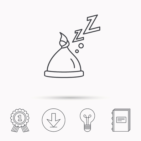 nodule: Baby hat with nodule icon. Newborn cap sign. Toddler sleeping clothes symbol. Download arrow, lamp, learn book and award medal icons. Illustration