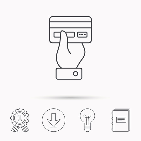 paying: Credit card icon. Giving hand sign. Cashless paying or buying symbol. Download arrow, lamp, learn book and award medal icons. Illustration