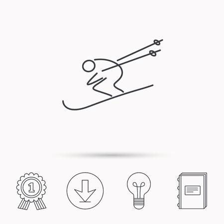 Icona di sci. Sci salto estremo segno sport. simbolo della concorrenza di velocità. Scarica freccia, lampada, imparare libri e medaglia d'icone. Archivio Fotografico - 62395330