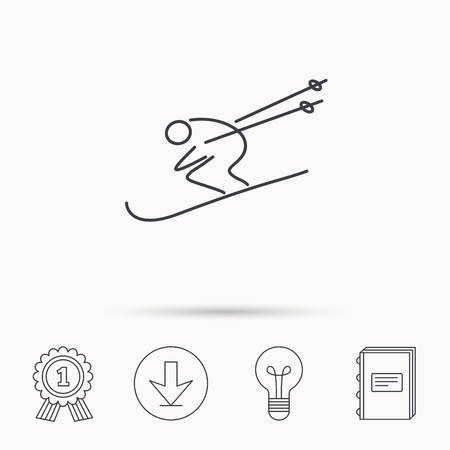 Skiing icon. Skis jumping extreme sport sign. Speed competition symbol. Download arrow, lamp, learn book and award medal icons. Imagens - 62395330