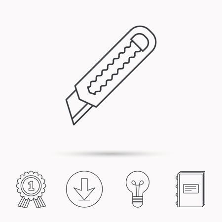retractable: Paper knife icon. Cutter tool sign. Download arrow, lamp, learn book and award medal icons. Illustration