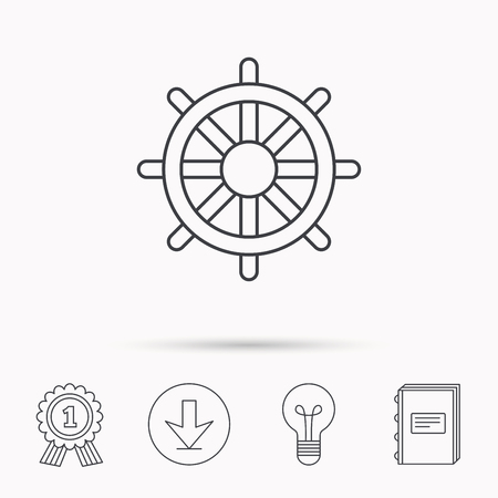 rudder ship: Ship steering wheel icon. Captain rudder sign. Sailing symbol. Download arrow, lamp, learn book and award medal icons. Illustration