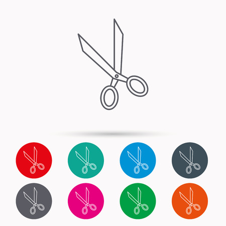 hairdressing scissors: Tailor scissors icon. Hairdressing sign. Grooming symbol. Linear icons in circles on white background. Illustration