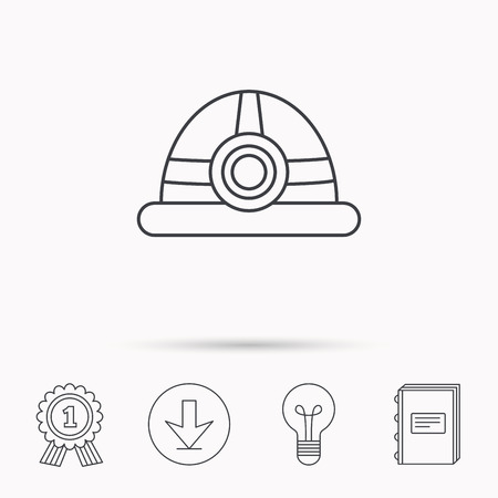 industrialist: Engineering icon. Engineer or worker helmet sign. Download arrow, lamp, learn book and award medal icons.