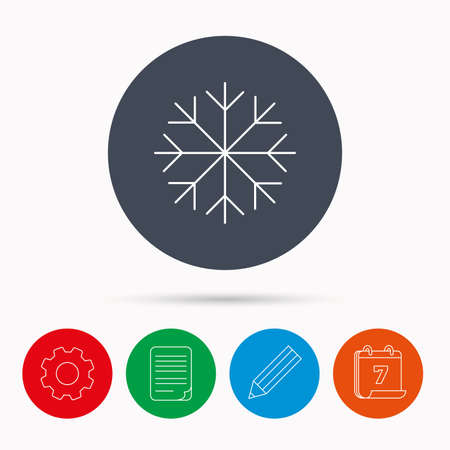 file folder: Snowflake icon. Snow sign. Air conditioning symbol. Calendar, cogwheel, document file and pencil icons.
