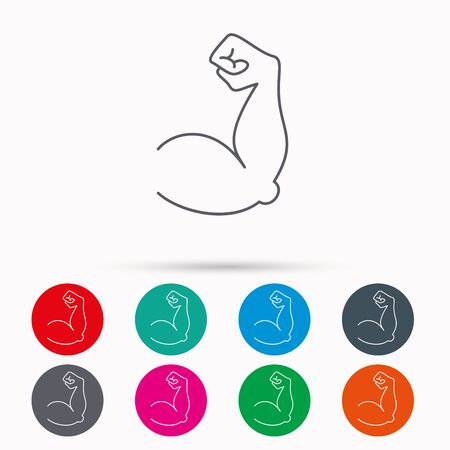 Biceps muscle icon. Bodybuilder strong arm sign. Weightlifting fitness symbol. Linear icons in circles on white background. Illustration