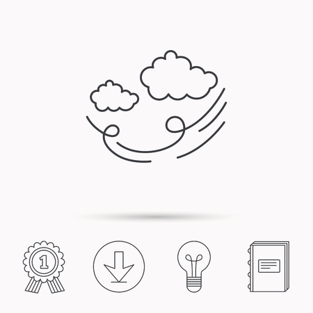 tempest: Wind icon. Cloud with storm sign. Strong wind or tempest symbol. Download arrow, lamp, learn book and award medal icons.