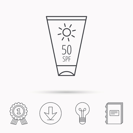sun cream: Sun cream container icon. Beach lotion sign. Download arrow, lamp, learn book and award medal icons. Illustration
