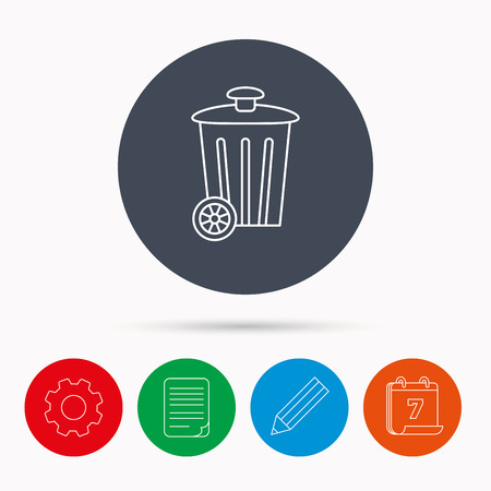 trash container: Recycle bin icon. Trash container sign. Street rubbish symbol. Calendar, cogwheel, document file and pencil icons. Illustration