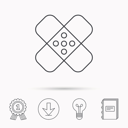 maim: Medical plaster icon. Injury fix sign. Download arrow, lamp, learn book and award medal icons.