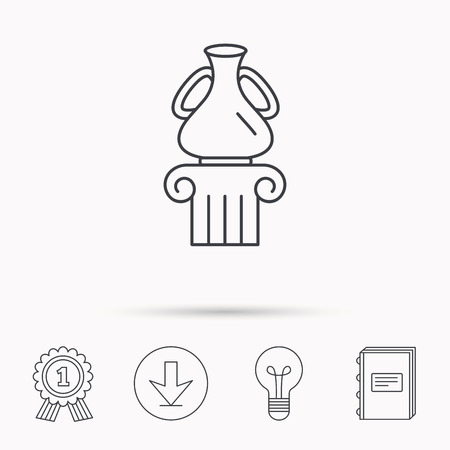 antique vase: Museum icon. Antique vase on pillar sign. Download arrow, lamp, learn book and award medal icons.