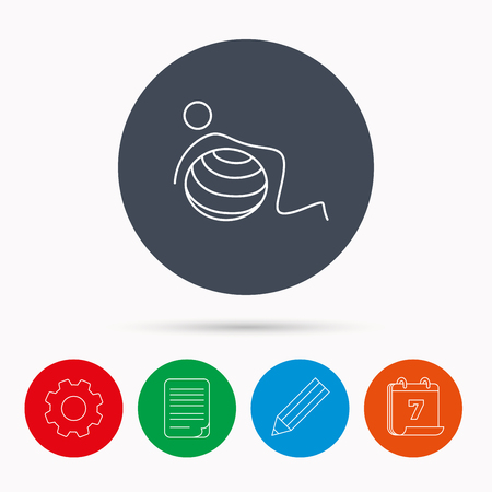 Gymnastic ball icon. Pilates fitness sign. Sport workout symbol. Calendar, cogwheel, document file and pencil icons.