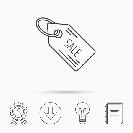 special education: Sale shopping tag icon. Discount label sign. Download arrow, lamp, learn book and award medal icons.