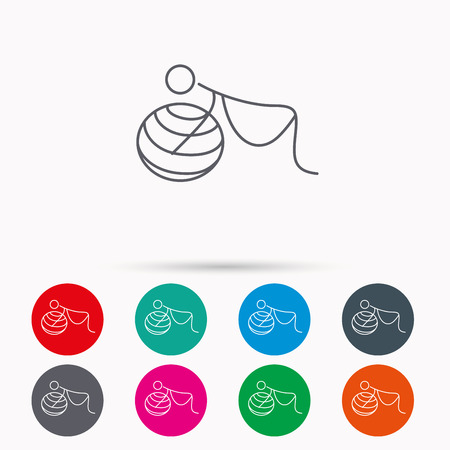 vulnerability: Gymnastic for pregnant icon. Pilates fitness sign. Sport workout symbol. Linear icons in circles on white background. Illustration