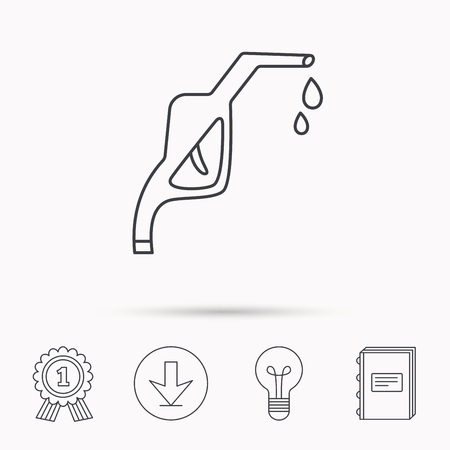 gas lamp: Gasoline pump nozzle icon. Gas or Petrol station sign. Download arrow, lamp, learn book and award medal icons.