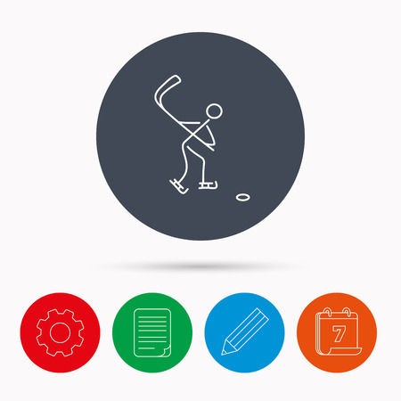 professional sport: Ice hockey icon. Professional sport game sign. Calendar, cogwheel, document file and pencil icons.