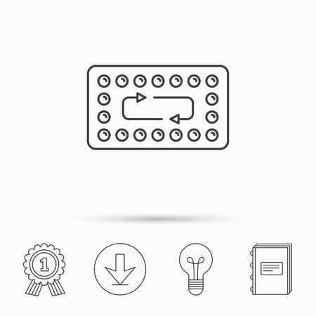 ovulation: Contraception pills icon. Pharmacology drugs sign. Download arrow, lamp, learn book and award medal icons.