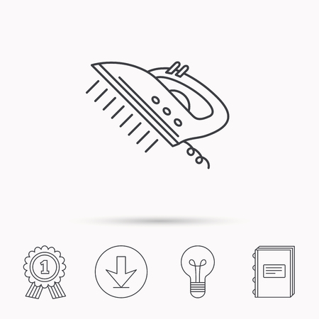 housework: Steam ironing icon. Iron housework tool sign. Download arrow, lamp, learn book and award medal icons. Illustration