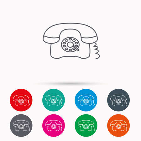 antiquated: Retro phone icon. Old telephone sign. Linear icons in circles on white background. Illustration