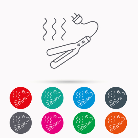 curler: Curling iron icon. Hairstyle electric tool sign. Linear icons in circles on white background.