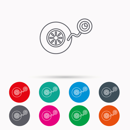 flaring: Wheel pressure icon. Tire service sign. Linear icons in circles on white background.
