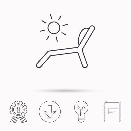 chaise longue: Deck chair icon. Beach chaise longue sign. Download arrow, lamp, learn book and award medal icons.