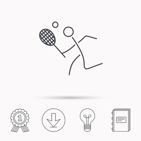 professional sport: Tennis icon. Racket with ball sign. Professional sport symbol. Download arrow, lamp, learn book and award medal icons. Illustration