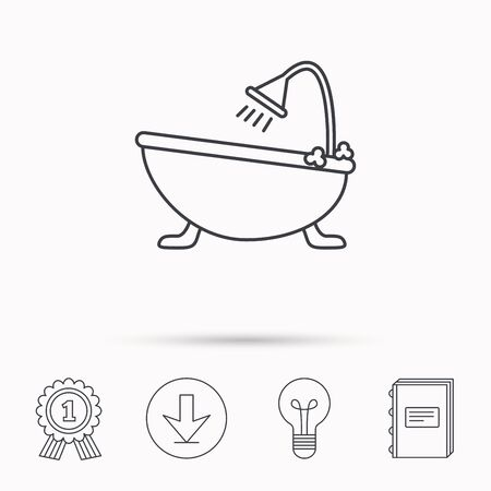 hot tub: Bathroom icon. Bath with shower sign. Download arrow, lamp, learn book and award medal icons. Illustration