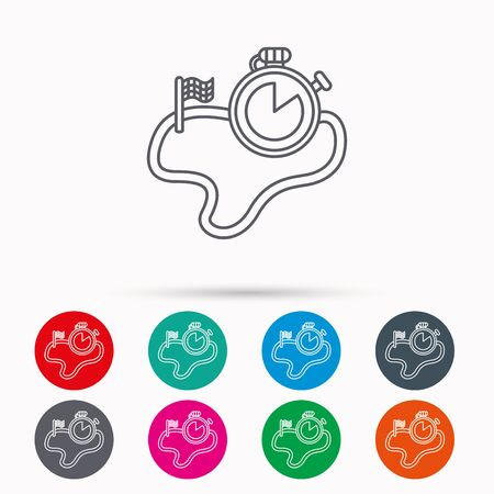 Race road icon. Finishing flag with timer sign. Linear icons in circles on white background. Illustration