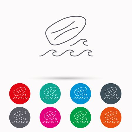 surfing waves: Surfboard icon. Surfing waves sign. Linear icons in circles on white background. Illustration