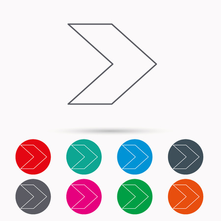 Next arrow icon. Forward sign. Right direction symbol. Linear icons in circles on white background.