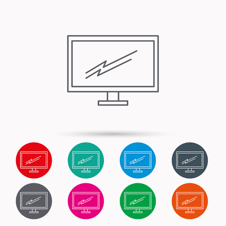 led display: PC monitor icon. Led TV sign. Widescreen display symbol. Linear icons in circles on white background.