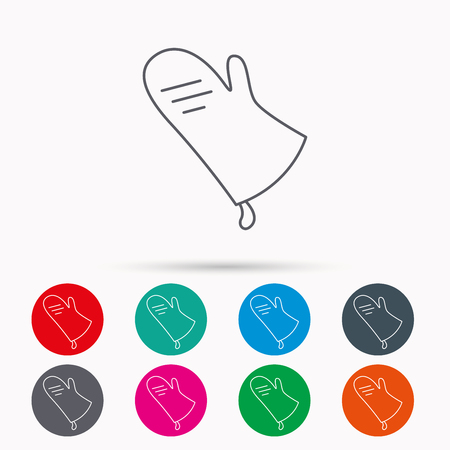 Potholder icon. Kitchen protection glove sign. Linear icons in circles on white background. Illustration