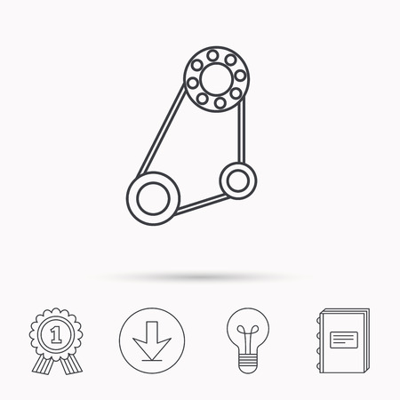 timing belt: Timing belt icon. Generator strap sign. Repair service symbol. Download arrow, lamp, learn book and award medal icons. Illustration