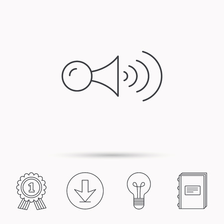 strident: Klaxon signal icon. Car horn sign. Download arrow, lamp, learn book and award medal icons.