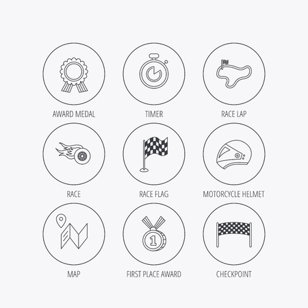 race winner: Race flag and speed icons. Winner medal, motorcycle helmet and timer linear signs. Map navigation flat line icons. Linear colored in circle edge icons.
