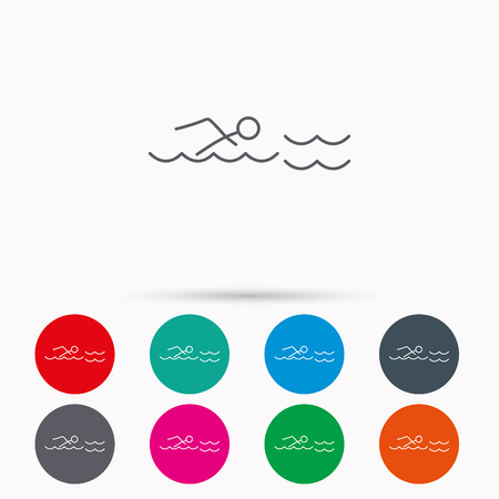Swimming icon. Swimmer in waves sign. Professional sport symbol. Linear icons in circles on white background.