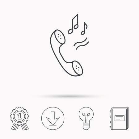 ringtone: Phone icon. Call ringtone sign. Download arrow, lamp, learn book and award medal icons.