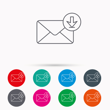 Mail inbox icon. Email message sign. Download arrow symbol. Linear icons in circles on white background.