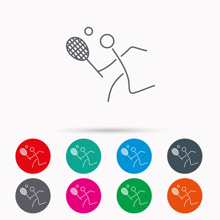 professional sport: Tennis icon. Racket with ball sign. Professional sport symbol. Linear icons in circles on white background.