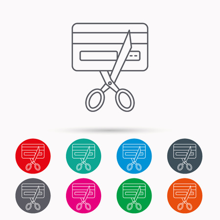pay cuts: Expired credit card icon. Shopping sign. Linear icons in circles on white background. Illustration
