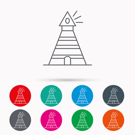 searchlight: Lighthouse icon. Searchlight signal sign. Coast tower symbol. Linear icons in circles on white background. Illustration