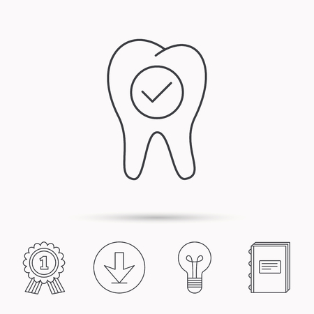 check book: Check tooth icon. Stomatology sign. Dental care symbol. Download arrow, lamp, learn book and award medal icons. Illustration